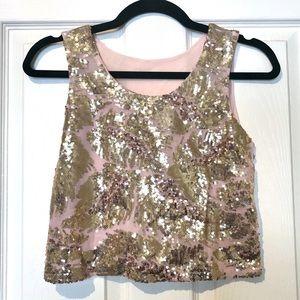 Tops - Pink/Gold Sequin Crop Top